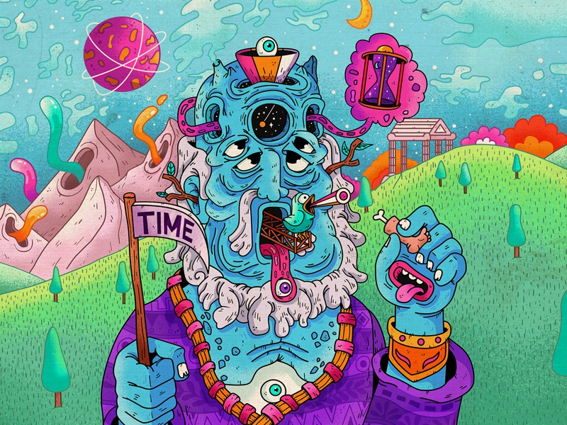 Greek gods : Kronos trippy psychedelic illustration keuj greece god
