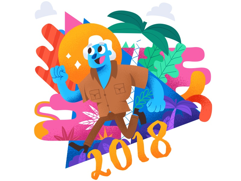 Happy 2018 jungle colors psychedelic illustrator hny vector jacques bardoux keuj wishes 2018