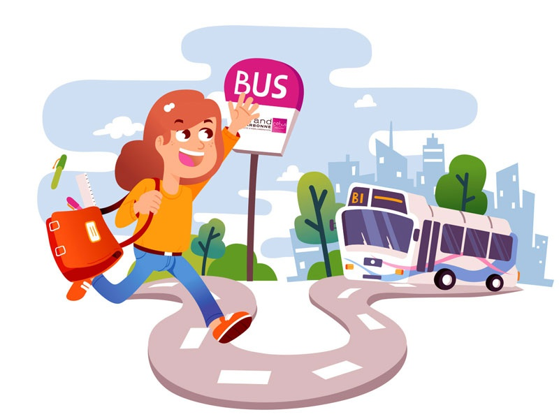 Keolis Leaflet cover safety bus school kid communication illustration vector leaflet freelance keuj