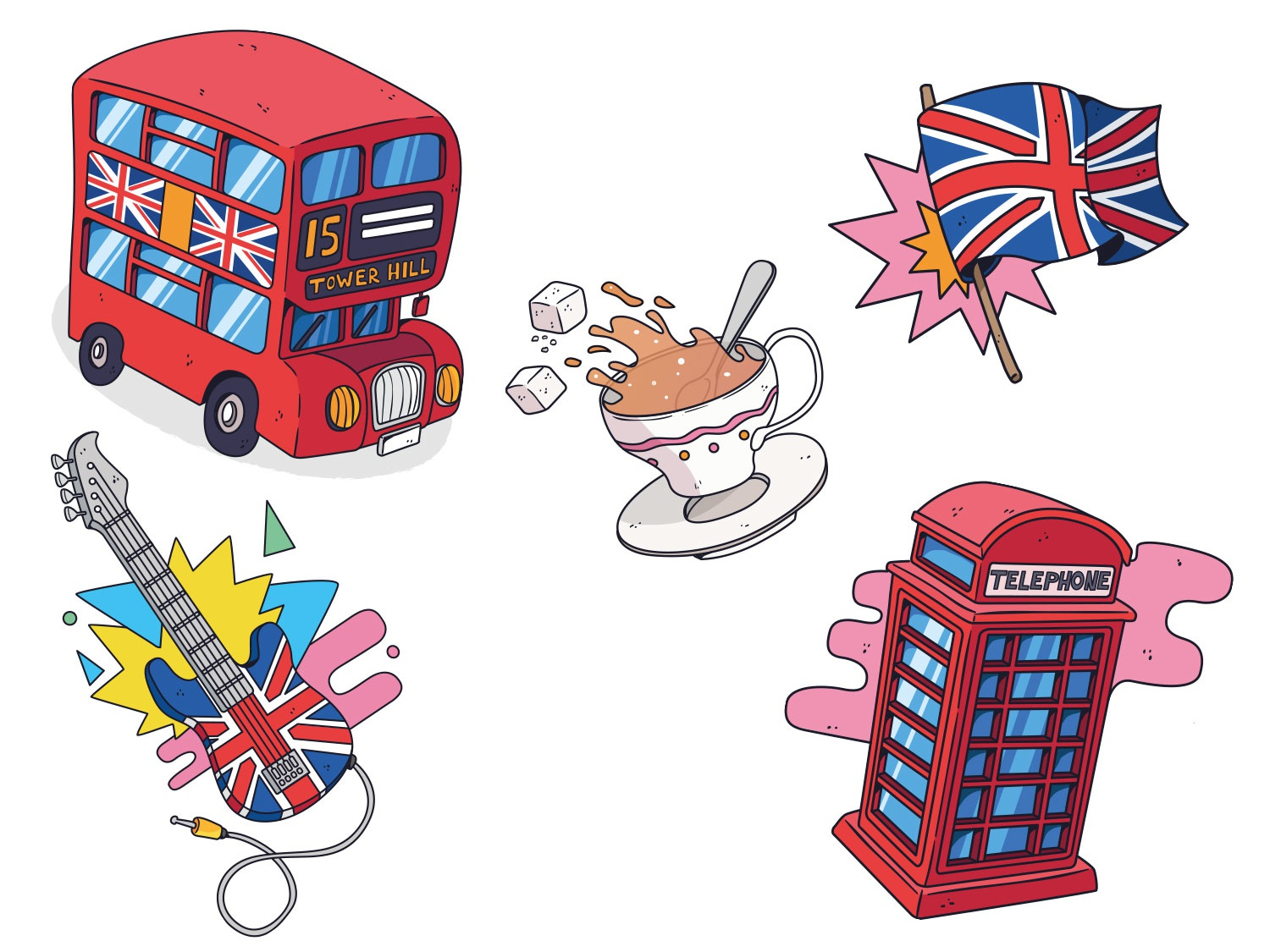 Learning english quiz london editorial freelance illustrator rough handdrawn drawing england illustration keuj