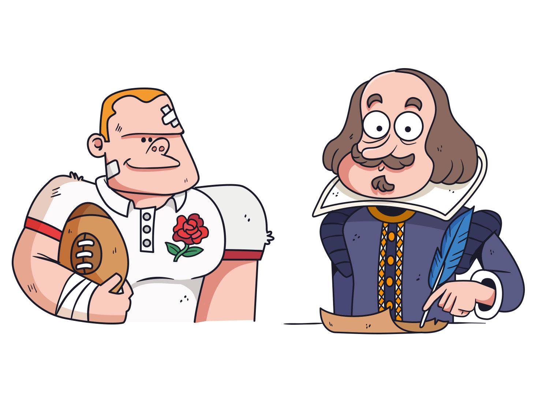 English basics quiz - Editorial illustration 02 rugby shakespeare britain uk england editorial freelance drawing illustrator vector illustration keuj
