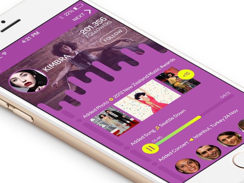 Artist Profile green yellow pink purple app mobile musician profile artist art