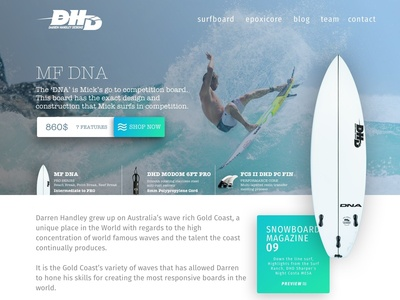 DHD Performance Surfboards UI Design