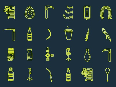 Anesthesia Icons surgery medical illustration clean graphicdesign logo