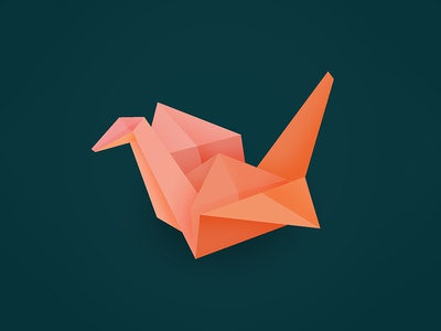 Origami Bird gradient design origami animal illustration graphicdesign