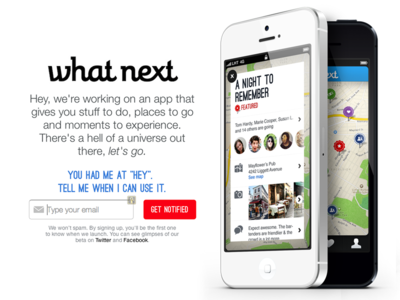 What Next app, coming soon