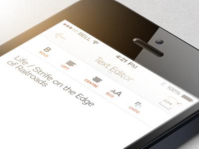 A Simple Text Editor minimalist iphone app design interface ui