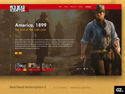 UI. Red Dead Redemption 2 challenge layout design art photoshop adobexd uxdesign uidesign uiux ui ux webdesign design web conceito