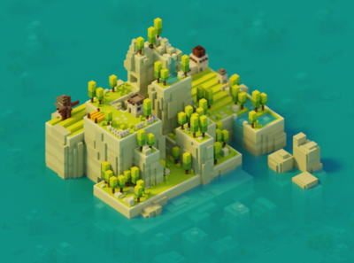 Islandy sunny day game design forest voxel art magicavoxel