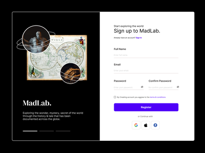 MadLab - Daily 01 - Sign Up Page ios website webdesign sign up minimalist minimalism apps design ux ui