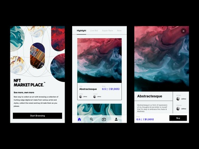 NFT MARKETPLACE - Daily 04 - Mobile App product design design ios minimalism abstract mobile apps ux ui