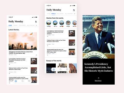 Daily Monday - Daily 05 - News Portal App component minimalist product design mobile politics article news apps minimalism ios ui ux design
