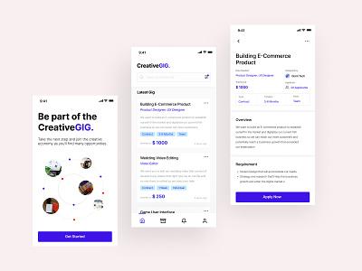 CreativeGIG - Daily 06 - Jobs Freelance App layout clean gig portal pricing freelance jobs minimalist apps minimalism ios design ux ui