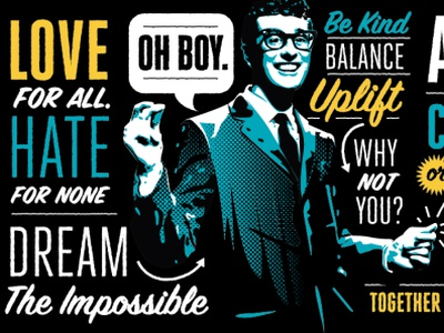 Type Mural buddyholly buddyholly portrait mural type design