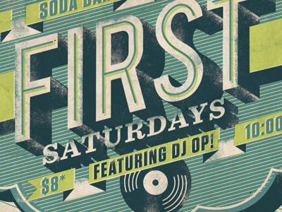 First Saturday Poster poster type design banner soda bar brooklyn bar