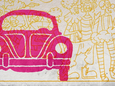 Clown Car clowns illustration design