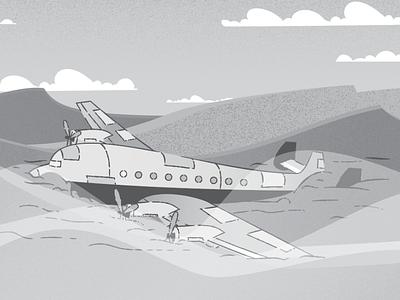 Sandy Landing animation setting twilight zone illustration design