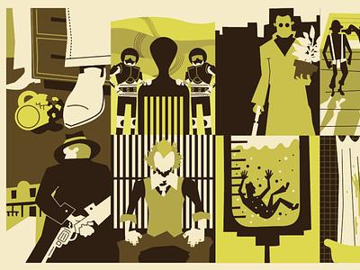 Movie Trivia flat poster movie character illustration design