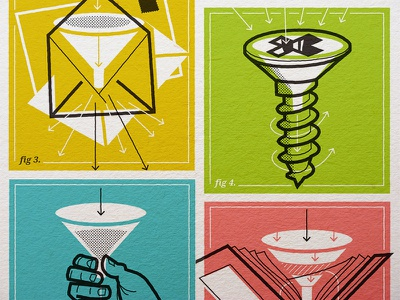 More Blog Illos marketing business funnel vintage icon illustration design