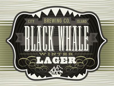 Black Whale Winter Lager beer design type illustration lager label packaging