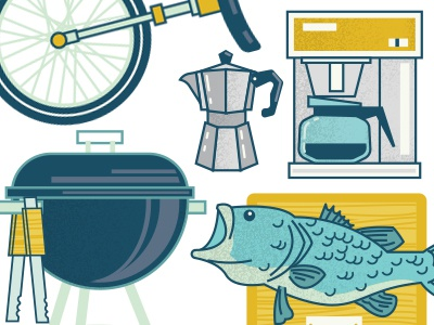 Removing Clutter unicycle vintage coffee clutter grill fish icons illustration art design