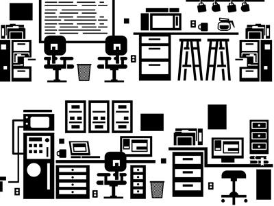 Office 1 coffee mug lab. stool computer desk chair office furniture illustration design