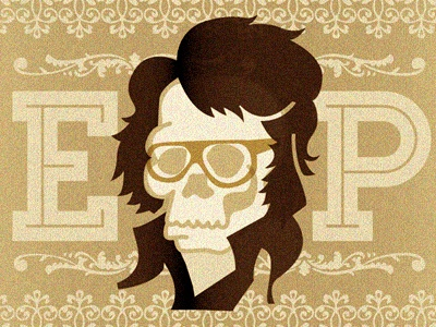 The King illustration skull celebrity funeral