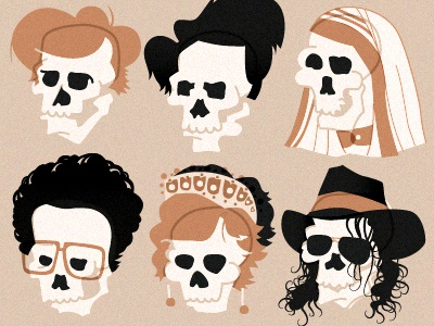 Deadhead Celebrities illustration skulls celebrity funeral