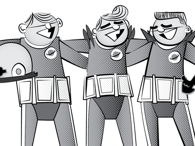 Space Force space pilots twilightzone characters illustration design