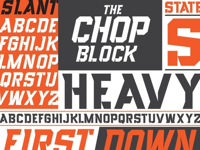 Chop Block Heavy and Slant typeface font letters typigraphy type design