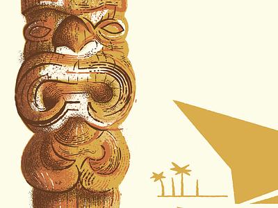 Island Life tiki aloha tropic island vintage illustration design