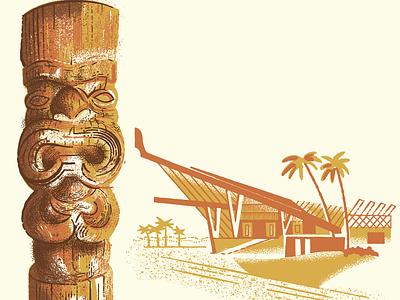 Tiki Hotel bar tiki vintage illustration design