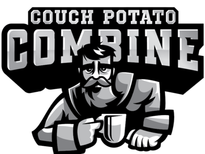 Couch Potato Combing football combine sports logo character illustration design