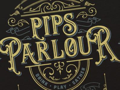 Pips Parlour flourishes vintage branding type logo design