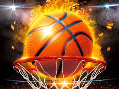 March Madness Basketball ball of flame 1st shot free throw flyer nba game redsanity basketball