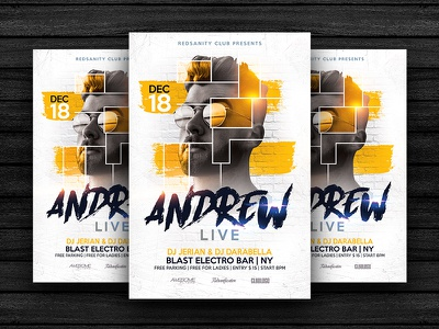 Guest Dj Party Flyer redsanity party club graphics design flyer template psd artist dj