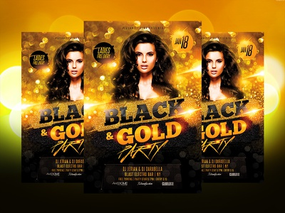 Black Gold Party Flyer gold black redsanity party club graphics design flyer template psd artist dj