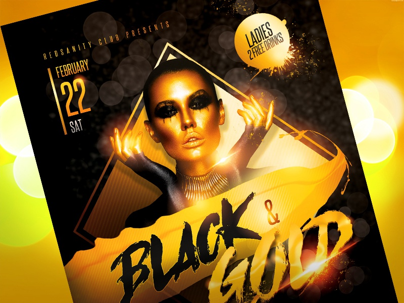 Black Gold Party Flyer by Redsanity Dribbble