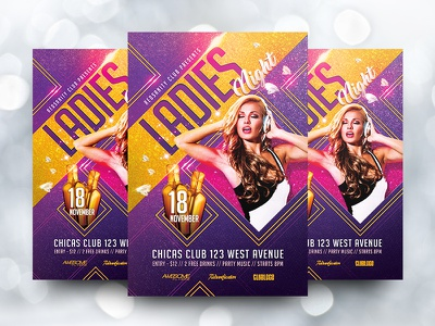 Ladies Night Party Flyer girls ladies redsanity party club graphics design flyer template psd artist dj