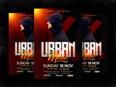 Urban Music Party template urban redsanity psd print party music flyer event electro dubstep dj