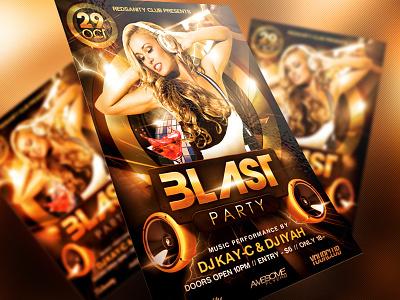 Blast Party Club Flyer electro dj electro dubstep disco dance music concert black design gold event print graphics design artist dj psd party club template redsanity flyer