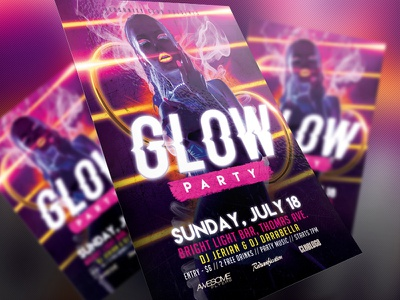 Glow Party Flyer black disco electro electro dj dubstep dance music concert dj psd design print event graphics design artist glow party club template redsanity flyer