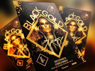Black & Gold Party Flyer electro dj electro dubstep disco gold dance music concert black design print event graphics design artist dj psd party club template redsanity flyer