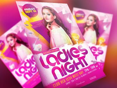 Ladies Night Flyer disco electro dj dubstep electro dance music concert design print dj artist party psd template event graphics design club ladies night ladies redsanity flyer