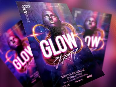 Glow Party Flyer ladies concert dubstep black electro dj dance music disco party dj artist graphics design print design event glow psd template club redsanity flyer