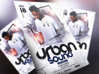 Urban Sound Flyer concert event electro disco gold electro dj dubstep club party psd dance music print design graphics design dj artist urban template redsanity flyer