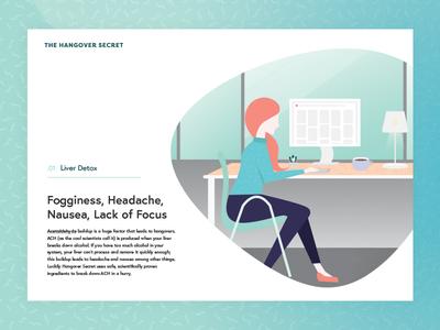 Hangover Secret Detox web design illustration