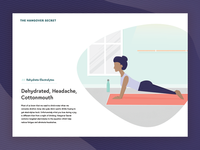 Hangover Secret Rehydrate web design illustration