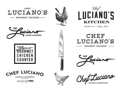 Chef Luciano Nogos restaurant branding typogaphy chicken identity logo design branding