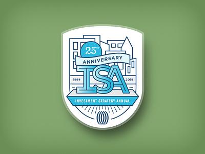ISA Badge annual report illustration minimal line art vector design badge
